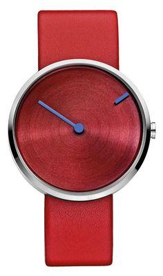 Jacob Jensen Armbanduhr für Herren mit rotem Lederarmband. Das gesamte Zifferblatt mit dem Minutenzeiger dreht sich! Versandkostenfrei, 100 Tage Rückgabe, Tiefpreisgarantie, bei Uhren4You.de bestellen!