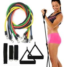 Funshow Resistance Bands Exercise Resistance Bands Exercise Bands Resistance Strap Fitness Cords Workout Bands for Physical Therapy Strength Weight Training with Door Anchor Ankle Wrist Strap ** Click image for more details.