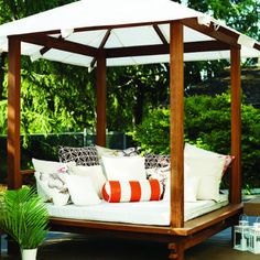 The Sweetwater Cabana outdoor daybed Decor, Home, Outdoor Beds, Outdoor Lounge Area, Canopy Design, Lounge Areas, Furniture, Outdoor Daybed, Outdoor Living