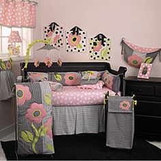 Cotton Tale quality baby girl bedding sets are essential in making your nursery warm and invitingCrib set features woven cotton hounds tooth in black and white, combined with patchwork
