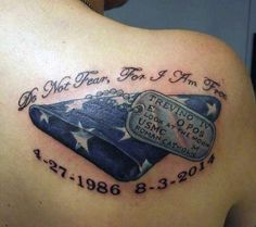 30 Dog Tag Tattoos For Men - Masculine Design Ideas Shoulder Blade Guys Tattoos Dog Tags<br> The ionic dog tag you know today stems of the Taiping revolt. Discover it's history with these 30 dog tag tattoos for men featuring cool ink design ideas. Patriotische Tattoos, Tribal Tattoos, Baby Feet Tattoos, Navy Tattoos, Baby Name Tattoos, Small Tattoos, Tattoos For Guys, Sleeve Tattoos, Tattoos For Women