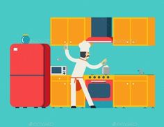 Chief Cook Food Dish Room Kitchen Furniture House  (Vector EPS, CS, apartment, apron, background, bank, cabinets, chief, cook, design, dish, extractor hood, faucet, flat, food, furniture, house, icons, illustration, interior, kitchen, ladle, male, microwave, oven, refrigerator, retro, room, sink, symbols, vector, vintage)