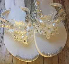 a44f6c396ef7e Olivia Ivory Lace Bridal Flip Flops Pearl Rhinestone Custom