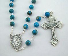 Turquoise Holy Mother Rosary with Pardon by FaithHopeAndBeads