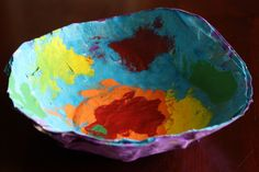 Paper mache bowls - great beginner paper mache project.  Our results were just gorgeous! (happy hooligans)