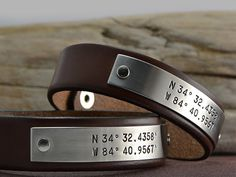 His and Hers Friendship GPS Coordinate Leather Bracelets - Two (2) Latitude and Longitude Leather Bracelets. Mr and Mrs Bracelets