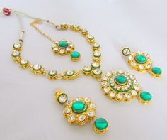 Green Glamour Dangle Earrings and Necklace with by RumiCollections