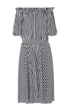 This **MDS Stripes** Slim Smocked Dress features an off the shoulder neckline with an elastic waistband and in a knee length, A-line silhouette.
