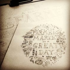 Farmers market pencil sketch by Shalom Schultz Designs. Art, illustration, black and white drawing, food, flowers, fruit. Hand lettered typography.