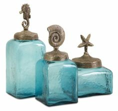 Amazon.com - Set of 3 Ocean Blue Glass Canister Jars with Starfish, Seahorse and Shell Lids