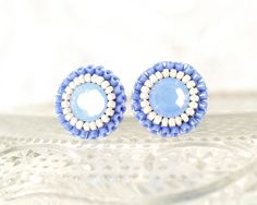 Blue stud earrings unique bridal bridesmaid by exquisiteartistry
