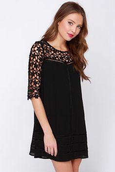 Cute Black Dress - Crochet Dress - $49.00