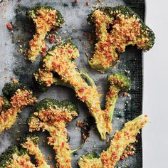 Flash-Roasted Broccoli with Spicy Crumbs | The genius idea here is pulsing sliced pepperoni with bread crumbs to add a ton of extra flavor and a great crunch to broccoli.