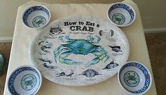 Set of 4 HOW TO EAT A CRAB Plates and 4 Butter Dishes