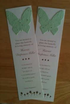Plantable bookmarks are a wonderful way to pay tribute to loved ones. On the bookmark print the names of the one you've lost. When the butterfly is planted, forget-me-not flowers will grow in their memory. The bookmark can still be used. Funeral Planning, Funeral Ideas, Event Planning, High School Class Reunion, Class Reunion Ideas, Class Reunion Decorations, Bookmark Printing, Funeral Memorial, Tribute