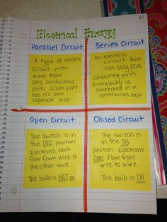 Science notebook: energy, circuits, and simple machines.