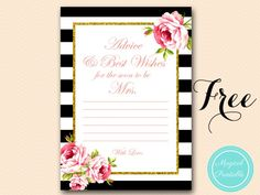 Advice and Best Wishes for the Bride, advice card, Fuchsia Floral Bridal Shower Games, Bridal Shower Advice cards, Wedding Shower Free Bridal Shower Games, Bridal Shower Advice, Free Baby Shower Invitations, Bridal Shower Activities, Printable Bridal Shower Games, Bridal Shower Favors, Bridal Showers, Wishes For The Bride, Advice For Bride