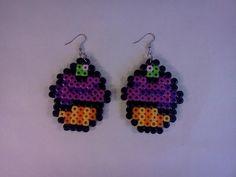 Hamma bead cupcake earrings