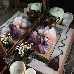 Rose quartz, altar, fluorite, candles, witchy, magic