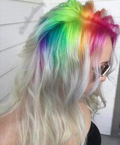 rainbow roots Pelo Multicolor, Coloured Hair, Mermaid Hair, Mermaid Makeup, Dream Hair, Crazy Hair, Cool Hair Color, Grunge Hair, Hair Dos