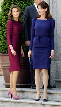 Letizia and France's First Lady Carla Bruni-Sarkozy before a luncheon at Zarzuela Palace on April 27, 2009. By Sergio Perez/Reuters /Landov....