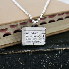 vintage dictionary, pendant necklace, smitten. $11.00, via Etsy.