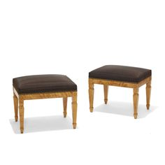 Pair of benches by influential architect Gustaf Ferdinand Boberg (1860 -1946), with Art Nouveau modeling and inlay details, in flame birch with horsehair striae upholstery, Sweden, 1900s