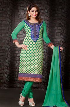 USD 53.61 Green Karachi Work Churidar Salwar Kameez   36122