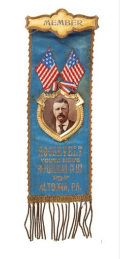 Altoona Pennsylvania, Young Republicans, Theodore Roosevelt, Historian, Badge, Christmas Ornaments, Christmas Jewelry, Christmas Decorations, Badges