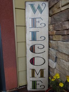 Welcome sign.  Hand painted wood sign/ Front by MyThoughtsExactly6