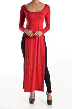 Long sleeve maxi length tunic top with high side splits | Shop this product here: spree.to/ax7g | Shop all of our products at http://spreesy.com/JewelsByScarlett    | Pinterest selling powered by Spreesy.com