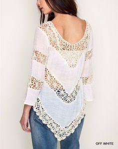 Umgee Usa Denim azul o blanco apagado Crochet combinación bohemia Hippie largo túnica S-l