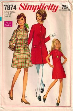 Simplicity 7874 Mandarin Collar Princess Coat Trapeze Dress Junior Petite Vintage 60s Sewing Pattern A-line Dress, Princess Seams, Size 7 JP by SuzisCornerBoutique on Etsy https://www.etsy.com/listing/239564620/simplicity-7874-mandarin-collar-princess