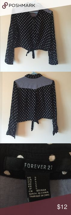 Forever 21 crop top, long sleeve button down Fun black with white polka dot and denim crop top with tie... Denim on shoulders and across the back.. Forever 21 Tops Crop Tops