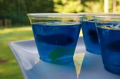 Go Fish Jell-O Aquariums - Great for a kid's bday party. I wonder if I can find a gelatin-free version in blue.