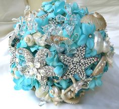 Sky Blue Wedding Bouquet Sea Shell Bridal Bouquet by BoHoBridal