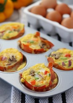 My favorite way to breakfast on the go! If you're looking for a grab and go  breakfast option... this is it! I make a couple batches in advance and  separate into two muffin servings. You can reheat in the microwave or eat  them cold. I actually don't mind them chilled. Either way they are  delicious!  Prosciutto Veggie Egg Cups by Clean Eats & Treats  In the past every egg cup recipe I have tried has been a disaster! The eggs  get stuck to the pan and I end up with a pile of scra...