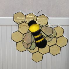 Stained Glass Honey Bee and Honeycomb Suncatcher by FoxStainedGlass on Etsy