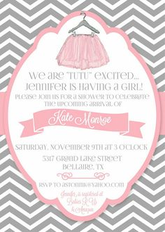 Tutu baby shower invitation girl baby shower invitations daily dimples tutu cute baby shower filmwisefo Image collections