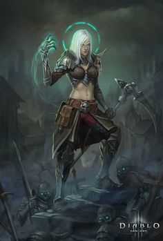 Necromancer Fan art for the game Diablo 3 Klaher Baklaher Fantasy Weapons, Fantasy Warrior, Fantasy Girl, Dark Fantasy, Warrior 3, Dungeons And Dragons Characters, Dnd Characters, Fantasy Characters, Female Characters