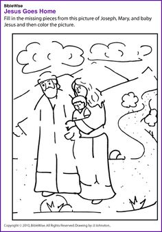 Complete this Christmas Picture of Mary, Joseph, and Baby Jesus - Kids Korner - BibleWise