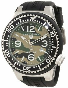 Swiss Legend Men's 11852C-017-BLK Neptune Green Camouflage Dial Watch Swiss Legend. $69.99. Water-resistant to 100 M (330 feet). Green camouflage dial with silver tone and white hands, white hour markers and arabic numerals; luminous; unidirectional stainless steel bezel with black ring and silver arabic numerals; screw-down crown. Mineral crystal; stainless steel case with black silicone cover and strap. Date function at 4:00. Swiss quartz movement. Save 82% Off!