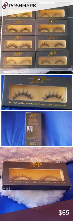 KALIFORNIAPINK P R E M I U M - L A S H E S I have 8 lashes. Still thinking whether to sell separately or all together. Let me know if you are interested.  (1) K19 is a mink reusable lash uses 10 to 12 times with proper care. (2) L52 this is a sterilized human hair lash single use  (2) L103 is a sterilized human hair lash single use  (1) SW-012 this is a sterilized human hair lash single use  (1) K05 this lash is a full flare lash mink reusable 10 to 12 times with proper care.  (1) L55 this…