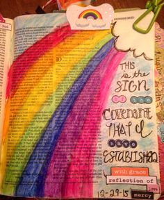 """God said to Noah, """"This is the sign of the covenant that I have established between me and all flesh that is on the earth."""" Genesis 9:17  His promises never fail  illustratedfaith #biblejournaling #biblejournalingcommunity"""