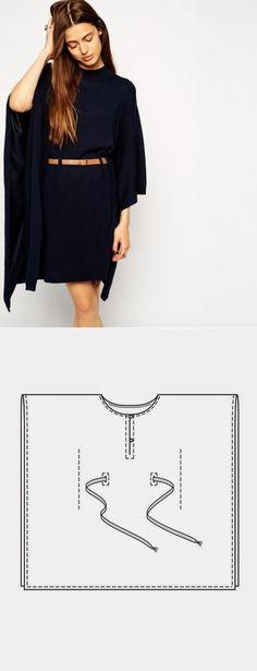 La costura ✂ los Patrones. El vestido - keyp con el cinturón (el patrón)