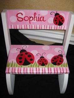 personalized chair step flip stool little Miss red ladybug Painted Rocking Chairs, Hand Painted Chairs, Whimsical Painted Furniture, Painted Stools, Hand Painted Furniture, Funky Furniture, Paint Furniture, Repurposed Furniture, Kids Furniture