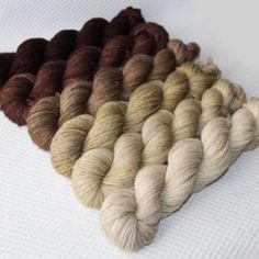Gradient Yarn Set- Hand dyed Superwash sock yarn in Сappuccino