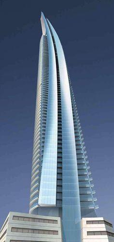 90-floor DAMAC Heights residential tower under construction in Dubai, UAE