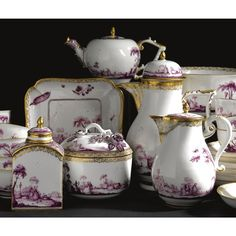 A Meissen porcelain part tea and coffee service, circa 1730-40 painted in puce camaieu with elegant figures in arcadian landscapes, gilt scrollwork borders and gilt line rims, comprising: a coffee pot and cover, 22 cm. high; a teapot and cover, handle repaired; a hot milk jug and cover, spout repaired; a sugar bowl and cover; a teacaddy and cover, cover repaired; a slop bowl; a square dish with canted corners, the border with Holzschnitt Blumen and insects; ten tea bowls and twelve saucers…