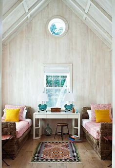 Loving the white washed wood in this lake house retreat.